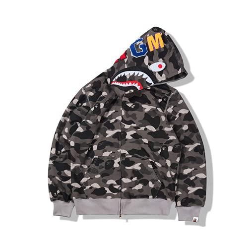Baonmy Bape Hoodie Fashion Camo Shark Jackets Ape Camo Jacket Boy Hoodies Girls Camo Hoodies (Black, Large)