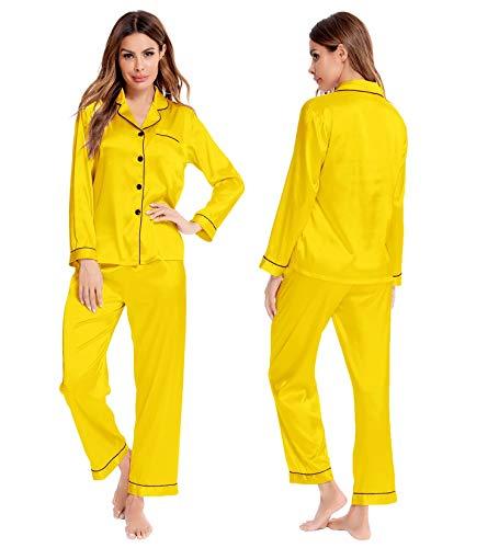 SWOMOG Pajamas Set Long Sleeve Sleepwear Womens Button Down Nightwear Soft Pj Lounge Yellow
