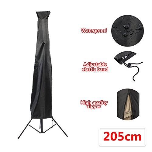 Essort Housses pour parasols de Jardin, Housse de Protection Premium pour Parasol Déporté, Housse de Protection en 210D Oxford Imperméable Résistant à UV Intempéries avec Sac de Rangement Noir 205cm