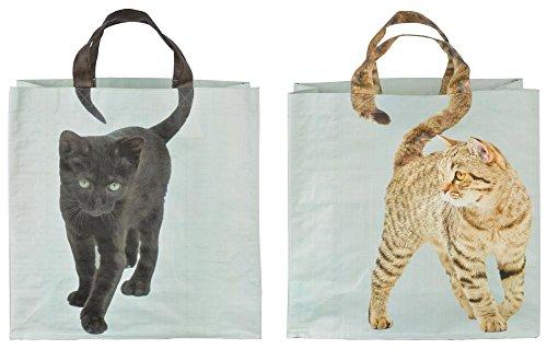 Esschert Design Einkaufstasche Katzenschwanz sort, PP Gewebe, Mehrfarbig, 39 x 14 x 39 cm