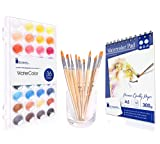 Watercolor Cake Set, 36 Watercolor Paint Set, 12 Paint Brushes and 12 Sheets Watercolor Pad. This Watercolors Set are Great for Children/Kids. The Perfect Brushes and Water Color pan Set.