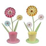 Valery Madelyn Osterdeko Mini Blumentopf Metall Planztopf 2er Set 23cm Bunt Bemalt Blüten Blumendeko Frühlingsdeko Sommer Tischdeko Gartendeko für kleine Pflanzen oder als Geschenkbox