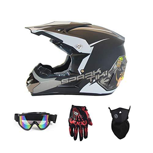 SanQing Motorrad-Sturzhelm, Jugend Kinder Dirt Bike Helme, Renn Motocross Fahrradhelm Vier Jahreszeiten universal (Handschuhe, Schutzbrille, Schutzmaske, 4-teiliges Set),Black Ghost Head,S