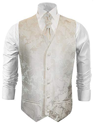 Paul Malone Hochzeitsweste Set 5tlg Elfenbein Ivory Paisley - Hochzeit Anzug Herren Weste - Gr. 46/48 XS