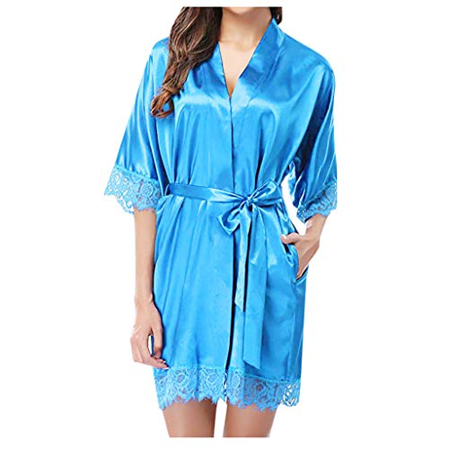 Fenverk Damen Morgenmantel Bademantel Sexy Kimono Kurz Robe Nachthemd Für Braut Nachtwäsche Blumenspitze Frauen Babydoll Dessous Kleid Gown Spitze Transparente Cover Up(A Blau,S)