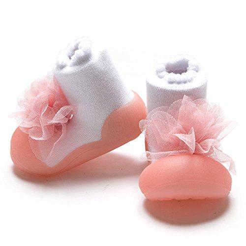 [Attipas] AK02.ピンク[ コサージュ2 [アティパス ] ベビーシューズ L(12.5cm) / かわいいベビーシューズ 滑り止め 公園遊び 出産祝い プレゼント あんよの練習 保育園靴 ソックスシューズ プレシューズ 室内履き 女の子