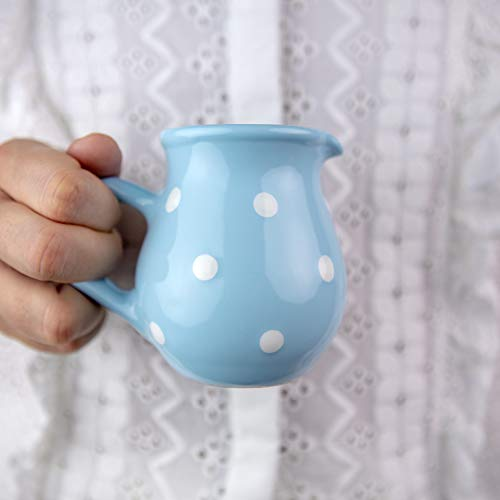 City to Cottage® - Keramik Milchkännchen | Hellblau und Weiß | Polka Dots | Handgemacht | Keramik Geschirr Kännchen | 150 ml