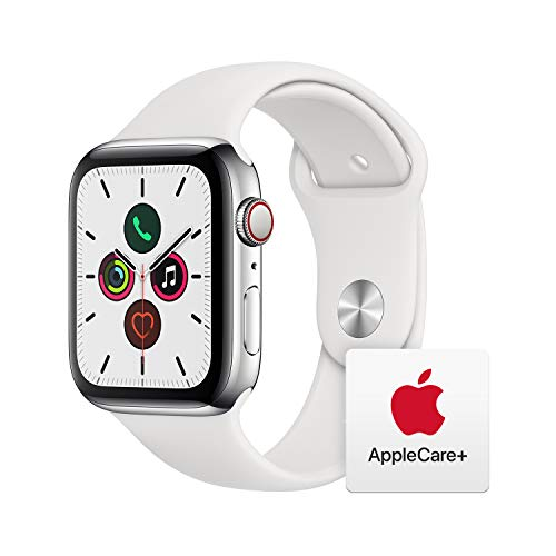 Apple Watch Series 5 (GPS + Cellular, 44mm) - ​ Stainless Steel Case with White Sport Band with AppleCare+ Bundle