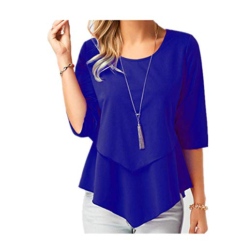Chiffon-Bluse mit halblangen Ärmeln, Übergröße, einfarbig, locker, leger, eleganter Sommer, Damen-Tops und Blusen Gr. XL, blau
