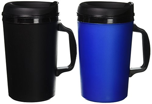 2 ThermoServ Foam Insulated Coffee Mugs 34 oz (1)Blue & (1)Black