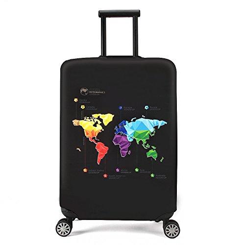 jinsan Shun valigetta custodia elastico Luggage Cover 2018nuove valigetta custodia protettiva Custodia copertura valigia da viaggio bagaglio guscio duro con chiusura lampo (Land Slot/Map Pattern, L, 25–28pollici) Map (L)