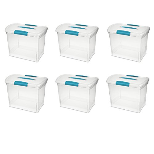 Sterilite 18768606 Large Nesting ShowOffs, Clear with Blue Aquarium Handle and Latches, 6-Pack