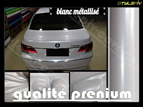 stylepiv-wrap Film Covering Blanc Brillant métallisé Pearl 152 x 30 cm Vinyle adhésif thermoformable