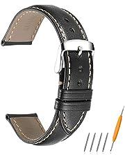 Avohome Correa de Reloj de Piel de cocodrilo con Hebilla de Color Plateado Inoxidable, Correa de Repuesto para Reloj de 18 mm 19 mm 20 mm 21 mm 22 mm