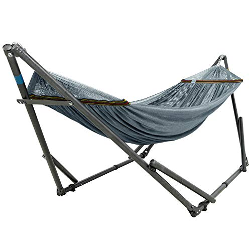 Tranquillo WUQT Adjustable Foldable Polyester Net and Carry Bag Hammock Stands, Double, Grey
