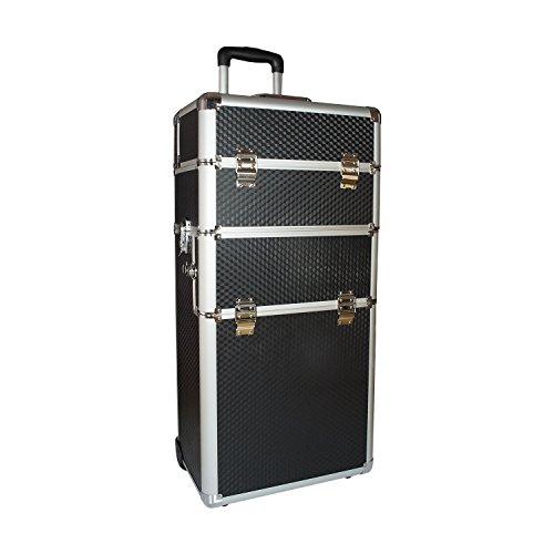 N & BF professionele cosmeticatrolley grote | Beautycase zwart carbon | robuuste nagelkoffer van aluminium | veel opbergruimte | opklapbare vakken verdeeld over meerdere verdiepingen | gemakkelijk te onderhouden