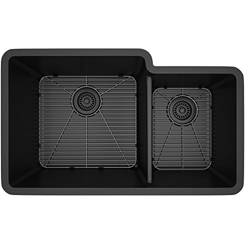 Lexicon Platinum Quartz Composite Kitchen Sink - Large Offset Double Bowl (LP-6040 Black) New Mexico