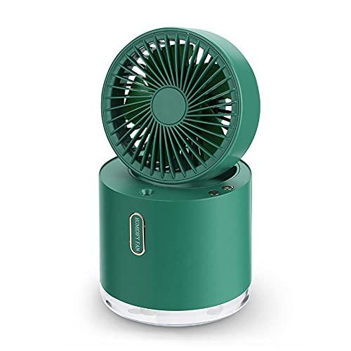WHYWJ Ventilador Humidificador Portátil, Ventilador Mesa Portátil Recargable con Tanque Agua 300ml 7 Luces Nocturnas Colores