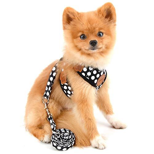 PAIDEFUL Arnés de Perro Chaleco Polca Puntos Arnés para Perros Pequeños Medianos Malla Suave Arneses y Correas para Gatos Mascotas Cachorros Perritos Caminar Entrenamiento al Aire Libre Negro S