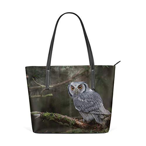 BAODANLA Laptop Tote Bag Cute Funny Owl Standing On The Tree Large Printed Shoulder Bags Handbag Pu Leather Top Handle Satchel Purse Lightweight Work Tote Bag For Women Girls