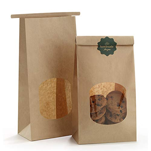 BagDream Bakery Bags with Window Kraft Paper Bags 100pcs 4.5x2.36x9.6 Inches Tin Tie Tab Lock Bags Brown Window Bags Cookie Bags, Coffee Bags