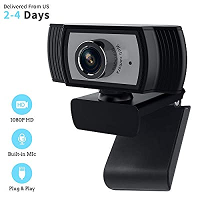 1080P Webcam with Microphone, TROPRO HD PC Desktop Computer MF Web Cam with 180° Ajustable Clip, 360°Rotatable USB Smart TV Web Camera for Skype, Live Stream, Video Chat, Recording, Conferencing