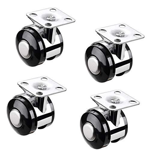 Ruedas giratorias para muebles de 50 mm con freno, ruedas planas para muebles y mesita de noche, para macetera/cuna/mesita de noche/carrito, 4 piezas