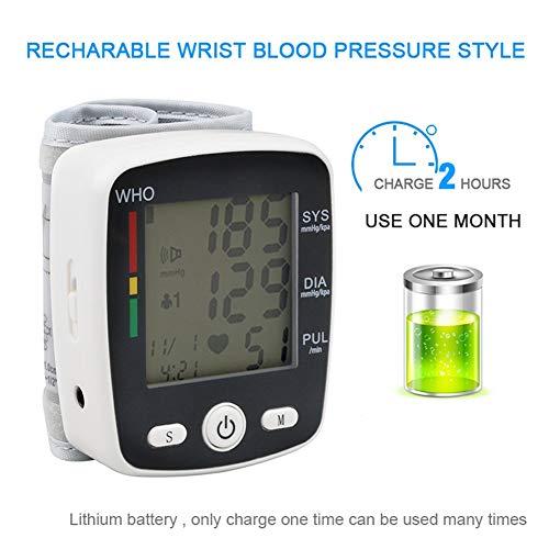DCSHOP Tensiometro de Brazo Monitor, Función de Voz Y Modo De Usuario Dual Monitor AutomáTico de PresióN Arterial de MuñEca Medir la PresióN Arterial Y La Frecuencia CardíAca para Uso DoméStico