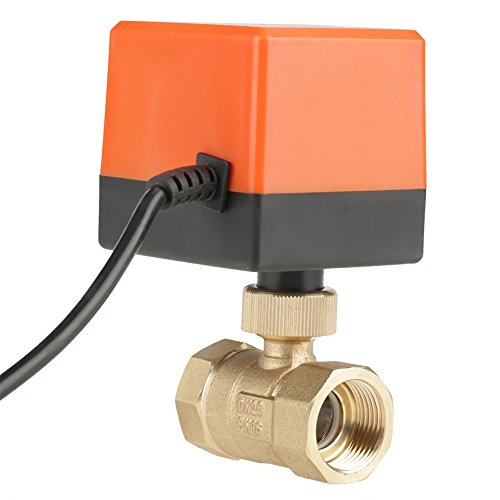 Motorized Ball Valve,G3/4' DN20 Brass Motorized Valve 2 Port/Zone Valve(AC 220V Wires Control Electric Ball Valve) for Air Conditioner