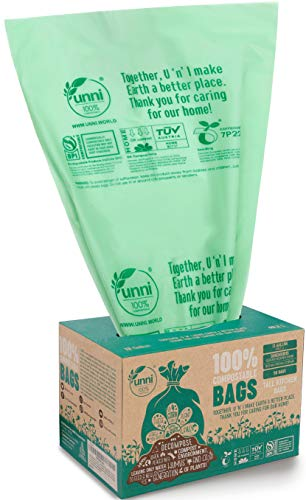 Unni ASTM6400 Certified 100% Compostable Bags, 13 Gallon, 50 Count, Heavy Duty 0.85 Mils, Tall Kitchen Trash Bags, Biodegradable Food Scraps Yard Waste Bags, US BPI & European VINCOTTE Certificated