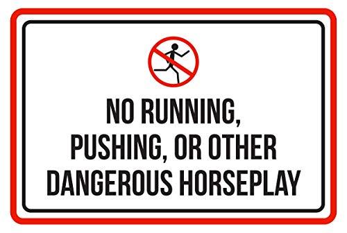 Warnschild Aufschrift RunningPushing