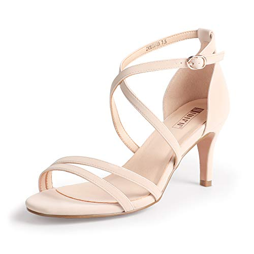 IDIFU Women's Silvia Cross Strappy Sandals Heels 3 Inch Open Toe Ankle Strap Wedding Party Dress Heeled Shoes (Nude Nubuck, 6.5 MUS)