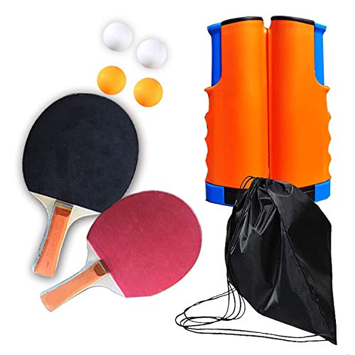 Buy Table Tennis Racket Set Professional with Retractable Table Tennis net 4 Ping Pong Balls,1 Pair ...