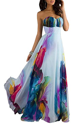 Bestfort Damen Abendkleid Lang Beachkleid Armschlinge Kleider Sommerkleider Blumen Partykleider Ärmellos Brautkleider Blau (L)