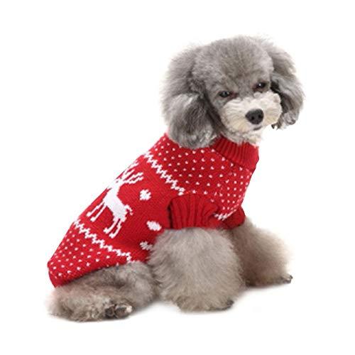 Coversolat Kleine Hunde Kleidung Weihnachten, Stricken Pullover Mit Weihnachtsbaum Rentier Motiv Sweater Hundepullover Hundekleidung