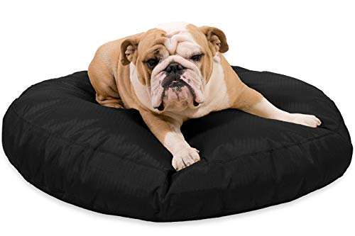 K9 Ballistics Round Dog Bed Medium Nearly Indestructible & Chew Resistant, Waterproof Washable Tough Nesting Pillow for Chewing Puppy - for Medium Dogs 36', Black