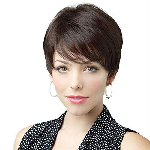 HAIRCUBE Perruque courte naturelle en cheveux bruns avec perruque latérale