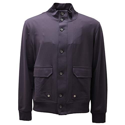 PAOLO PECORA 6726AD Felpa Giubbino Uomo Mix Cotton Blue Sweatshirt Men [XL]