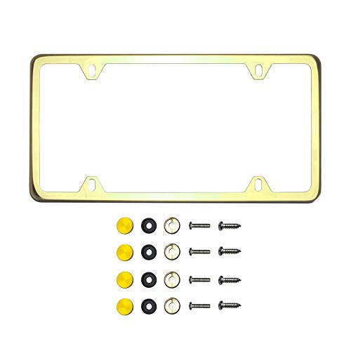 KA Depot Four Hole Slim Version Gold Chrome Polish Mirror License Plate Frame T304 Stainless Steel + Metal Screw Caps