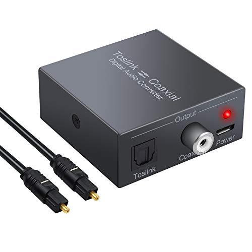 PROZOR Convertitore Bidirezionale da Digitale Coassiale a SPDIF Toslink Ottico o da Toslink a Coassiale Supporta DTS/Dolby-AC3 192KHz Audio Splitter con Cavo Ottico per PS4 Blu-ray UHD TV