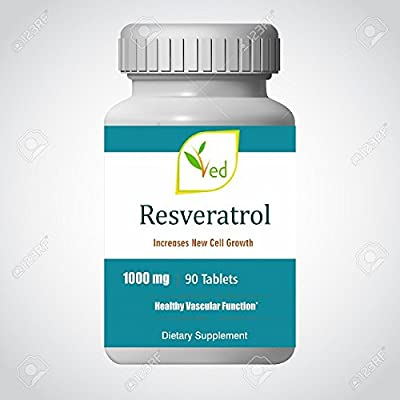 Ved Anti-Aging, Heart Health, Immunity Support   Antioxidant Supplement   Resveratrol Tablets   1000 mg x 90 Tablets