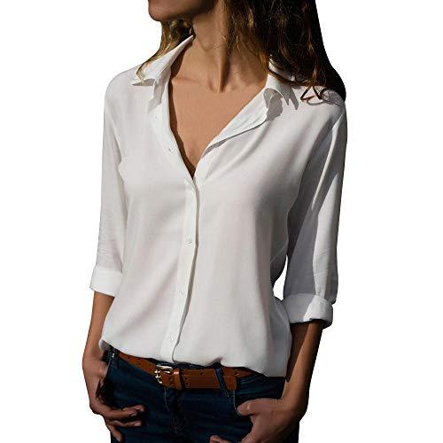VJGOAL Camisas de Gasa para Mujer Camisetas de Manga Larga de Solapa Color Sólido Blusas Otoño Tops con...