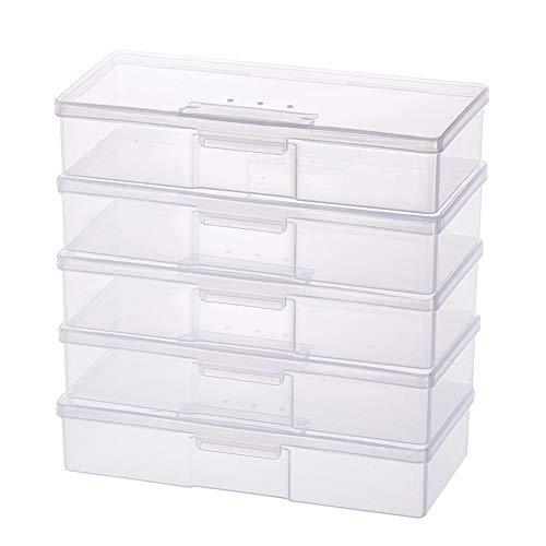 BENECREAT 5 Pack Caja de Plástico Caja de Herrmamientas Contenedor Transparente de Almacenamiento con Ventilación para Papelería, Gadgets, Gundam Juguetes Modelo