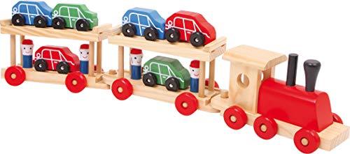 Small Foot 7006 Train pour Le Transport de Voitures avec Deux Wagons pour emporter Les Petites Voitures