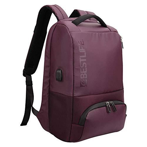 """Bestlife Mochila Antirrobo de la Serie Neoton. Capacidad de 23 litros. Compartimento para portátil de 16"""" y tablet. Dispone de cargador USB. Color Rojo"""