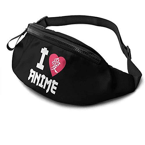NA I Love Anime in Japanese Lover Runner's Fanny Bag Waist Pack Adjustable Straps Pocket with Headphone Jack for Unisex