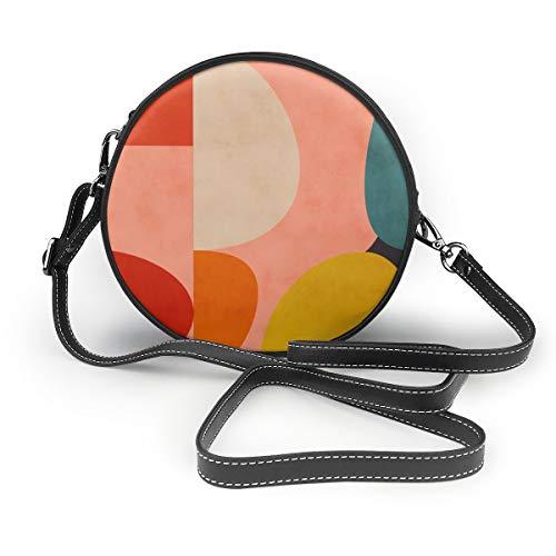 Lilyo-ltd Geometrie-Form Mitte Jahrhunderts Organic Rouge Curry Blaugrün Schultertasche Rund Crossbody Handtasche für Frauen Mädchen