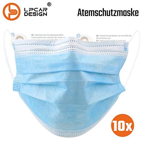 L & P Car Design 10 Stk Mundschutz 3 lagig Schutzmaske Einweg Mund Nase Maske Gesichtsmaske Atemschutz (10)