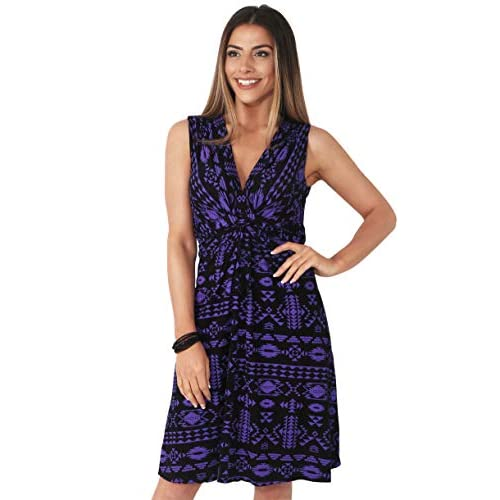 KRISP® Women Knot Front Dress Ruched Flattering Stretch Spring Dresses