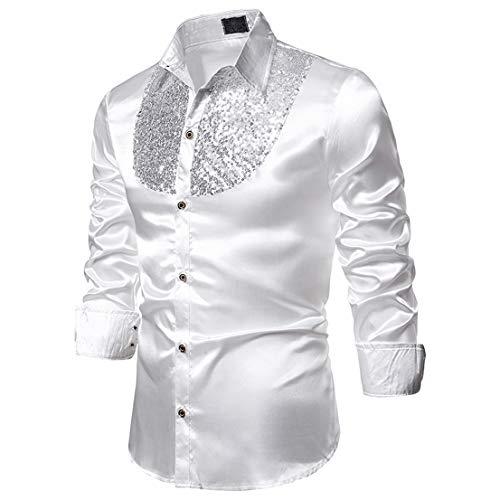 Hombres Camisa de Manga Larga de Solapa de Lujo, Lentejuelas de Baile de Graduación Informal Fiesta de Discoteca Satén de Seda Cena Traje de Anfitrión de Esmoquin (Blanco, XL)